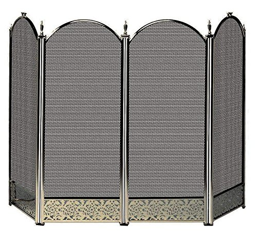 Uniflame 4-Fold Antique Brass Screen with Decorative Filigree