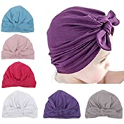 Qandsweet 6 Pack Baby Girl Hats Knotted Rabbit Ear Style Turban Headband 1-5T