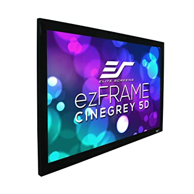 "Elite Screens ezFrame CineGrey 5D, 200"" Diagonal 16:9, 8K 4K Ultra HD Ready Ceiling Light Rejecting and Ambient Light Rejecting Fixed Frame Projector Screen, CineGrey 5D Projection Material, R200DHD5"