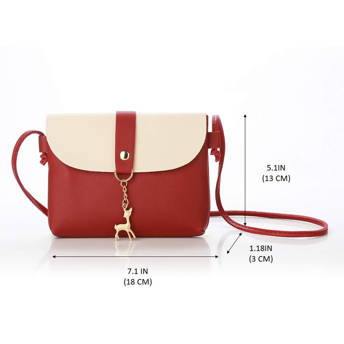 Small Crossbody Purse for Women With Pendant,PU Leather Crossbody Bag With Strap Cell Phone Bag for Girl,Red by Lanling (Image #2)