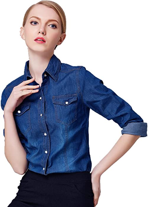 20ead6c157 Starto Women s Denim Shirt Chambray Long Sleeve Button Down Shirts Blouse  at Amazon Women s Clothing store