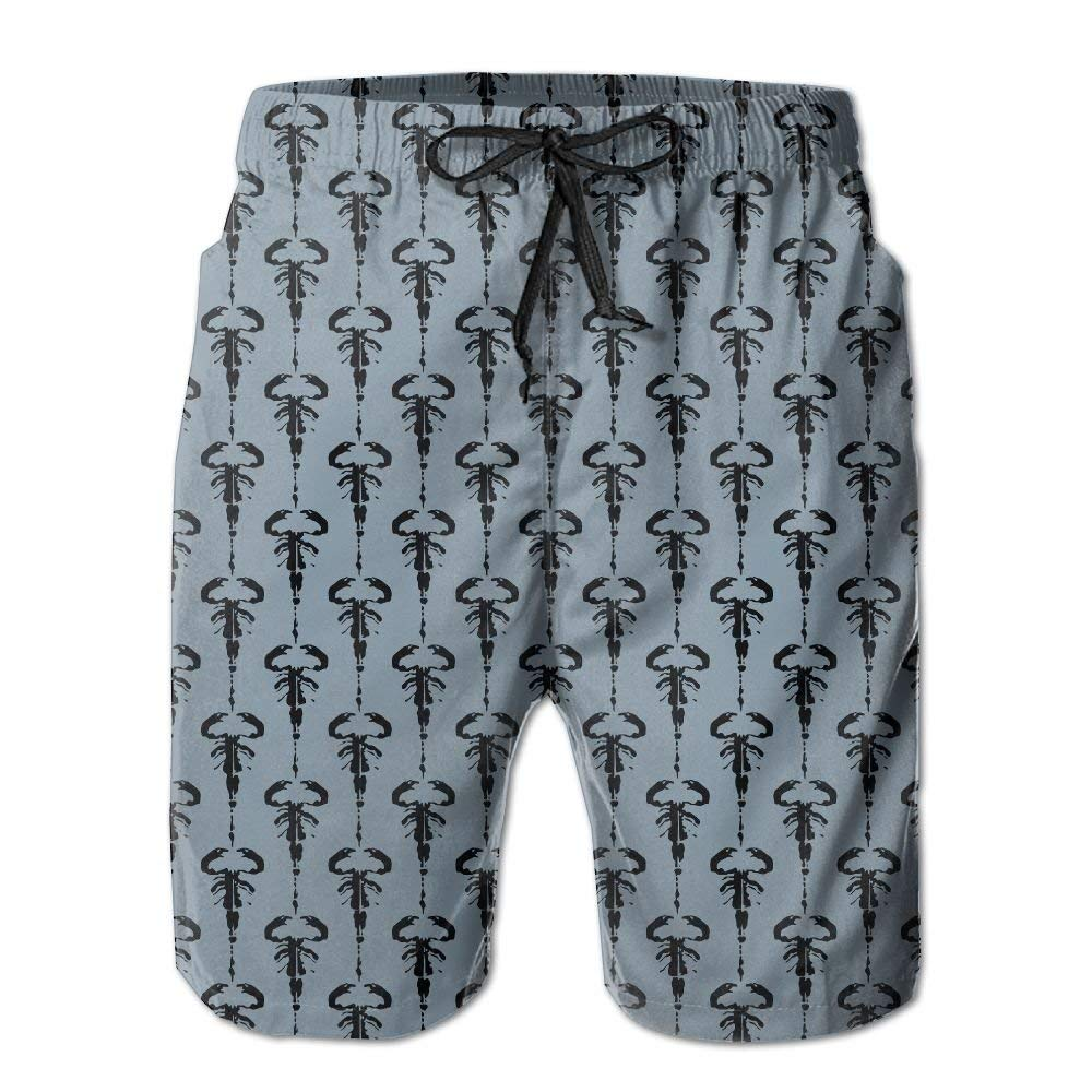 Mens Quick Dry Beach Shorts Scorpion Ink Blot Design Floral Boardshorts Swim Surf Trunks