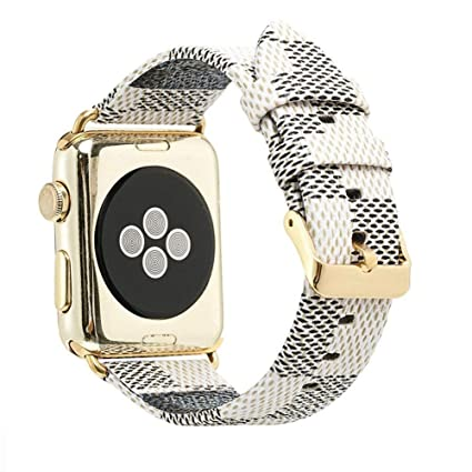 for Apple Watch Band for Women Men Fashion Leather iWatch Series 1 2 3 4 Sport Smartwatch Strap with Gold Metal Buckle (42mm)
