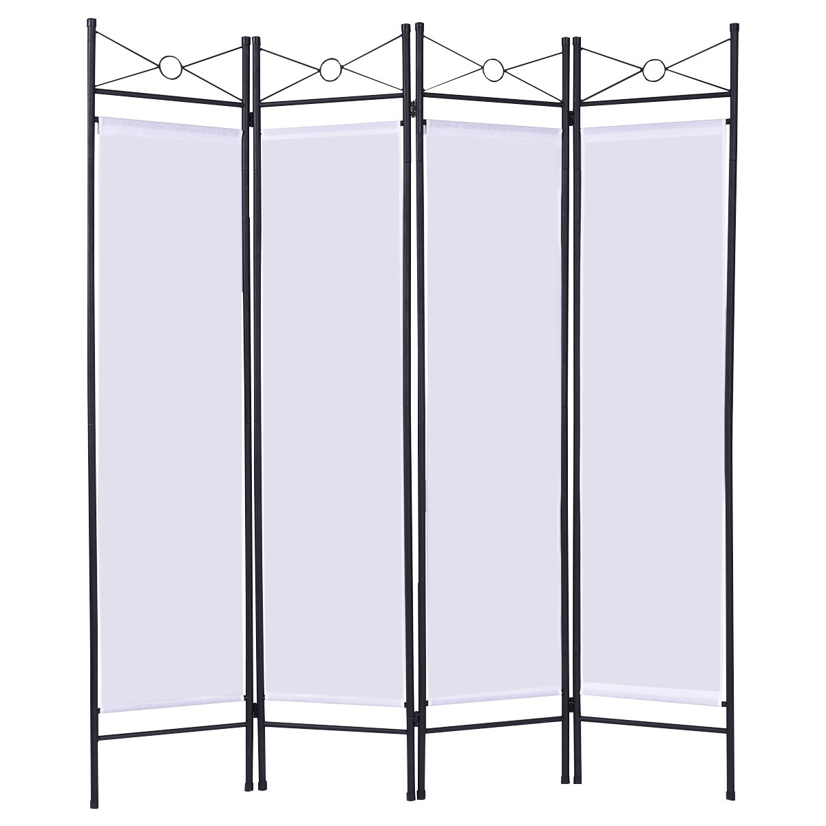 CASART Folding Room Divider Screen 4 Panel Partition Wall Furniture Privacy Separator Paravent 180 x 160cm (Black)