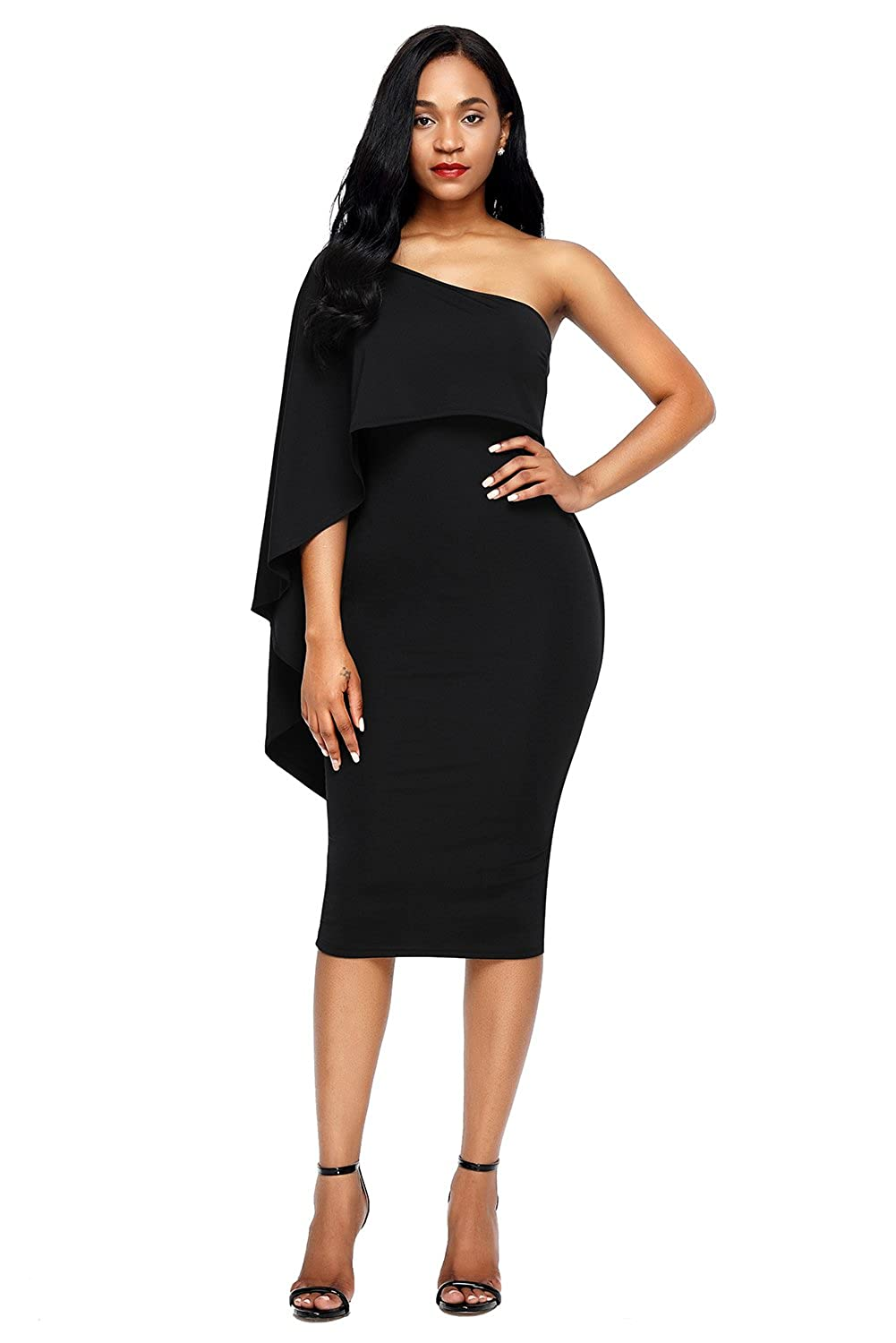 cf49da32ad5 Solid One Shoulder Bodycon Dress Knee Length Cape Ruffle Evening Party Dress  Garment Care  Machine Washable Package Contents 1 x Cocktail Party Dress