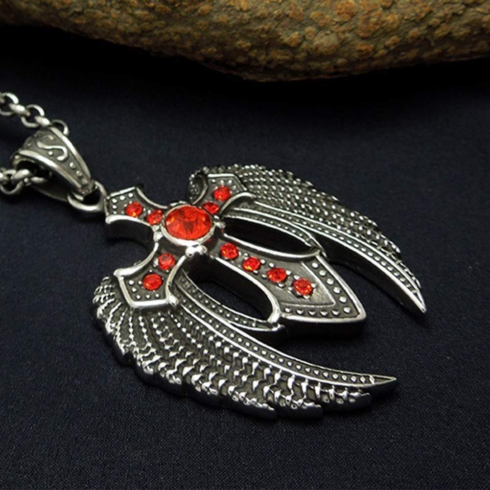 Ccyyy Mens Necklace Pendant Domineering Eagle Dapeng Wings red Meteorite Pendant Personality Titanium Steel Trend Jewelry