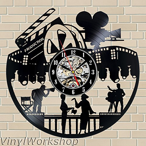 Movie Night Home Theater Wall Decor Reels Theater Cinema Vinyl Clock Decorative Vinyl Record Wall Clock This Clock Is A Unique Gift To Your Friends And Family For Any Occasion ()