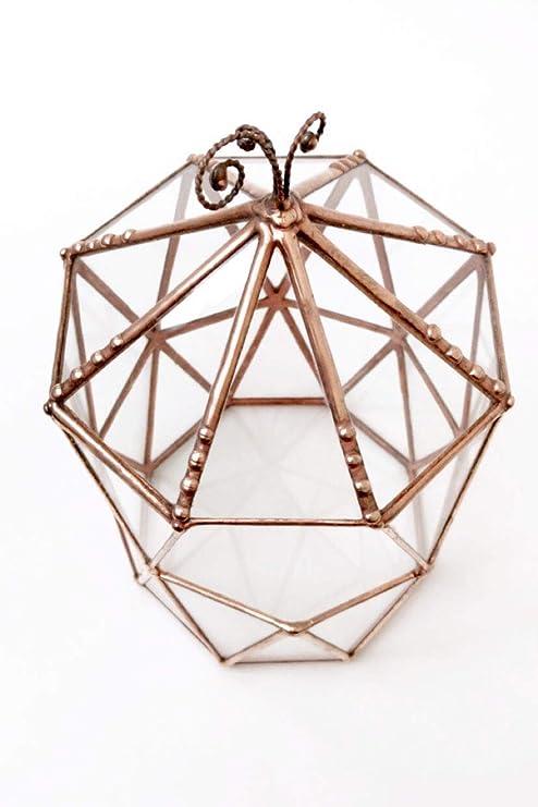 Jaula octogonal con techo, terrario, maceta de cristal geométrico ...