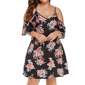 SMILEQ Moda Mujer Vestido Casual Talla Grande Falda de impresión ...