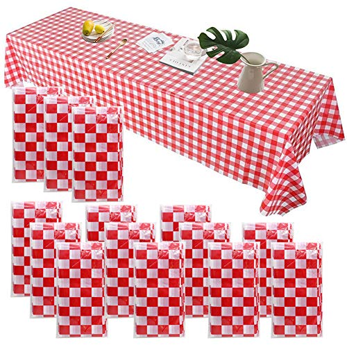 TOLTOL 14 Pieces Plastic Checkered Tablecloths 54x108inch Red and White Premium Disposable Plastic Picnic Tablecloth