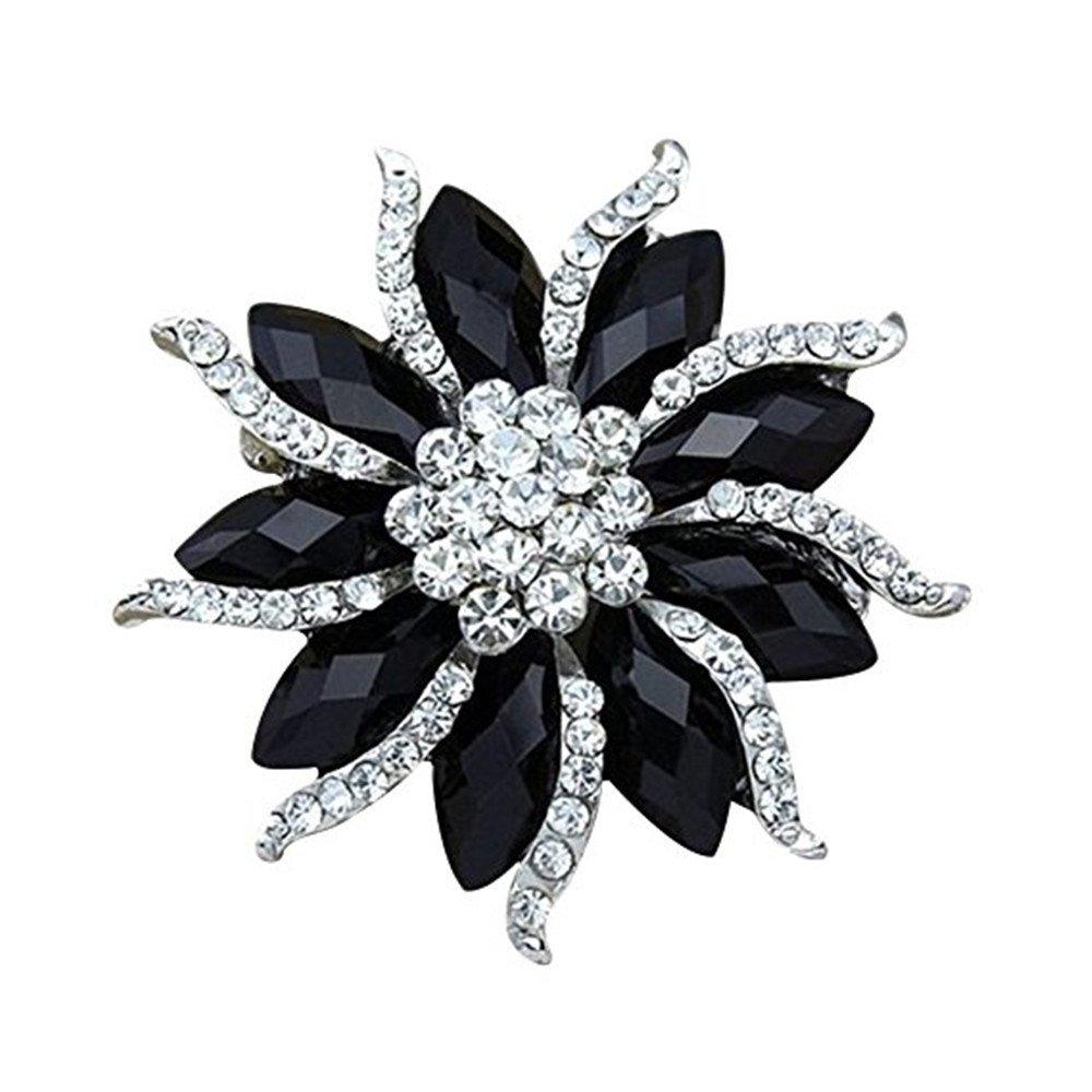 Blossom Flower Rhinestone Brooch Pin Black Crystal Collar Pin Scarves Shawl Clip for Women Lady Qiqilei