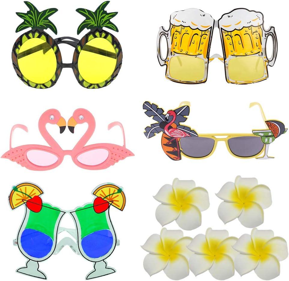 EQLEF Gafa Hawaiana Novedad Gafas de Vestir temática Tropical Fiesta Bolsa Piña Flamingo Gafas de Cerveza con Pinzas de Pelo de Fiesta para decoración y diversión