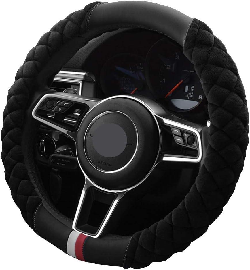 Mayco Bell Universal Car Winter Soft Short Plush Steering Wheel Cover Black