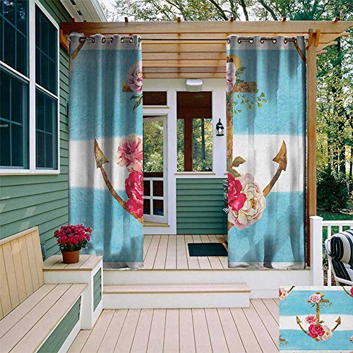 leinuoyi Shabby Chic, Outdoor Curtain Grommet, Anchors with Romantic Peonies Roses Watercolor Artwork Bold Stripes Nautical, for Patio Furniture W108 x L108 Inch Multicolor
