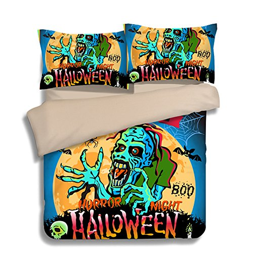 Fantastic Trick or Treat Zombie Happy Halloween Cotton Microfiber 3pc 104''x90'' Bedding Quilt Duvet Cover Sets 2 Pillow Cases King Size by DIY Duvetcover