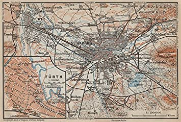 Nürnberg Karte Deutschland.Nüremburg Nurnberg Fürth Town City Stadtplan Bayern Karte
