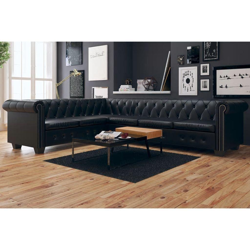 WEILANDEAL Sofa de Esquina Chesterfield 6 plazas Cuero ...