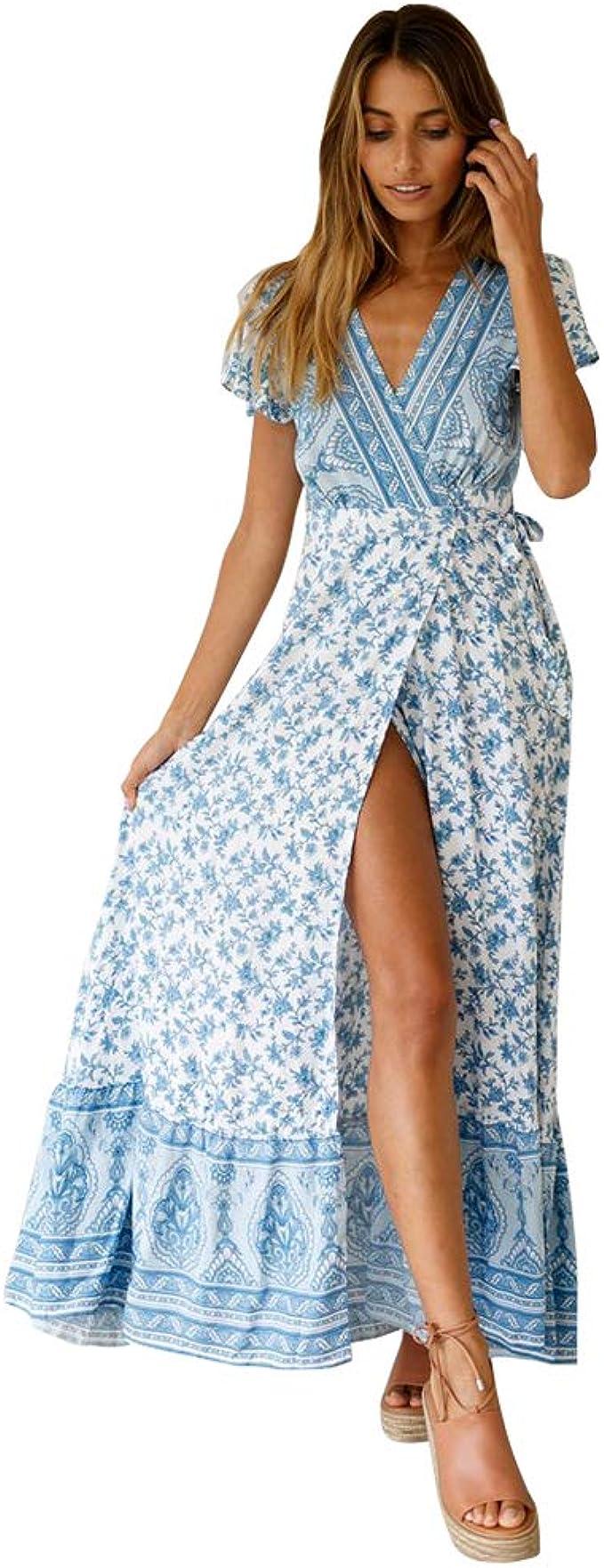 Frauen Boho Blumen Kurzarm V-Ausschnitt Minikleid Sommerferien Sommerkleid