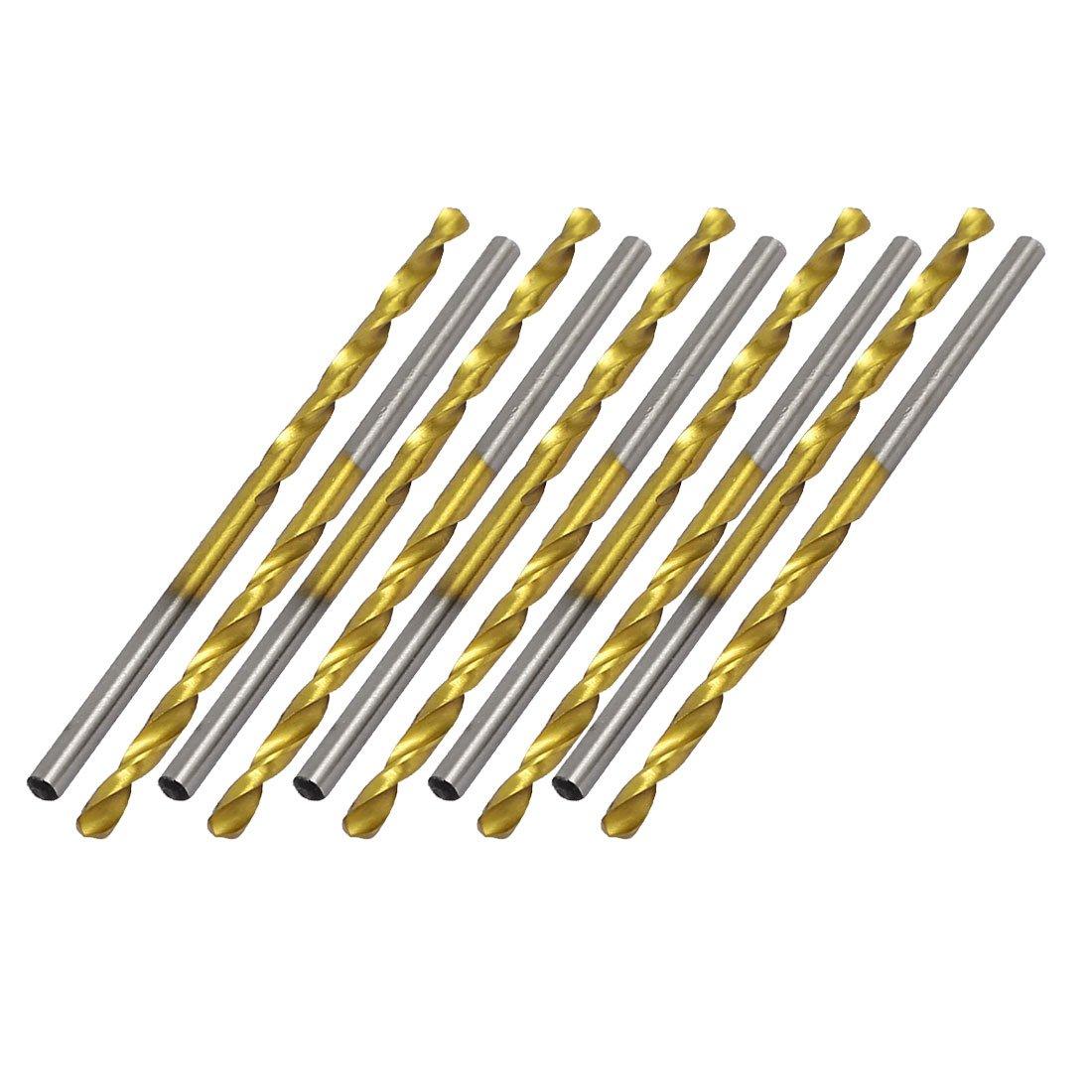 uxcell 2.6mm Dia 57mm Length Titanium Plated 2-Flute Straight Shank Twist Drill Bit 10pcs