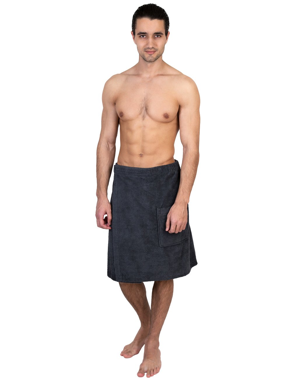 TowelSelections Men's Wrap, Shower & Bath, Terry Spa Towel Small/Medium Charcoal