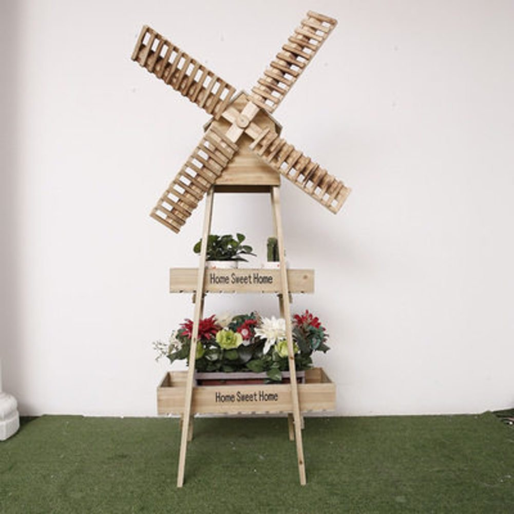 Windmill flower racks/art,[rural],solid wood,rotating windmill flower racks/floor layer showy-A