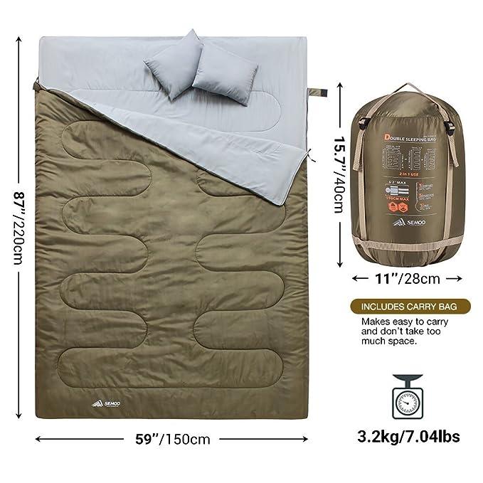 Semoo Saco de Dormir Extra Grande, para 2 Personas, Impermeable, Almohada Integrada, Camping, Actividades al Aire Libre, Confortable, Resistente: Amazon.es: ...