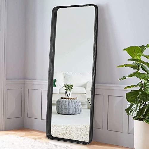 VVK Rectangular Wall Mirror Bathroom – Contemporary Brushed Metal, Silver Mirrored Glass, Hangs Vertical Or Horizontal for The Living Room, Bedroom, Office, and Hallway 47.2 x 1.6 x 15.7