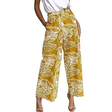 2daf405ab4c MCYs Pantalon Large Femme Palazzo Jambes Large Fluide Chic Evasé Elastiqué  Taille Haute Décontracté en Mousseline