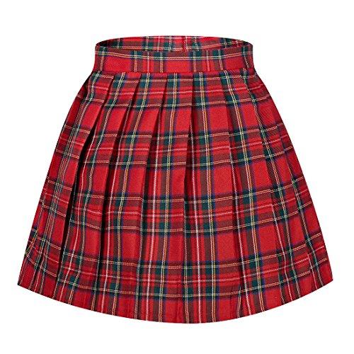 Green Girls Plaid Skirts (Girl's Japan High Waist School Plaid Pleated Cotton Skirts(M,Red Green))