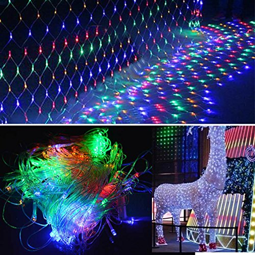 2m x 2m Net Mesh Fairy String Lights, 144 Decorative Net Lights for Party Wedding Christmas Home Patio Lawn Garden White/ Colorful/ Blue [US Plug] (Colorful)