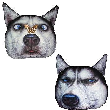 Cabeza de perro almohada Cojín decorativo 3D Cabeza de perro ...