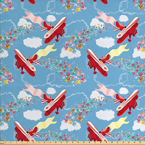 Ambesonne Airplane Fabric by The Yard, Retro Biplanes with Pennants Throwing Present Boxes Announcement Celebration Art, Decorative Fabric for Upholstery and Home Accents, ()