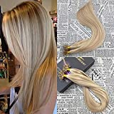 "Moresoo 20"" 50g U Tip Hair Extensions Human Hair Ombre Remy Keratin U Tip Fusion Hair Extensions 1gram/strand Light Beige Blonde Highlighted with Bleached Blonde"