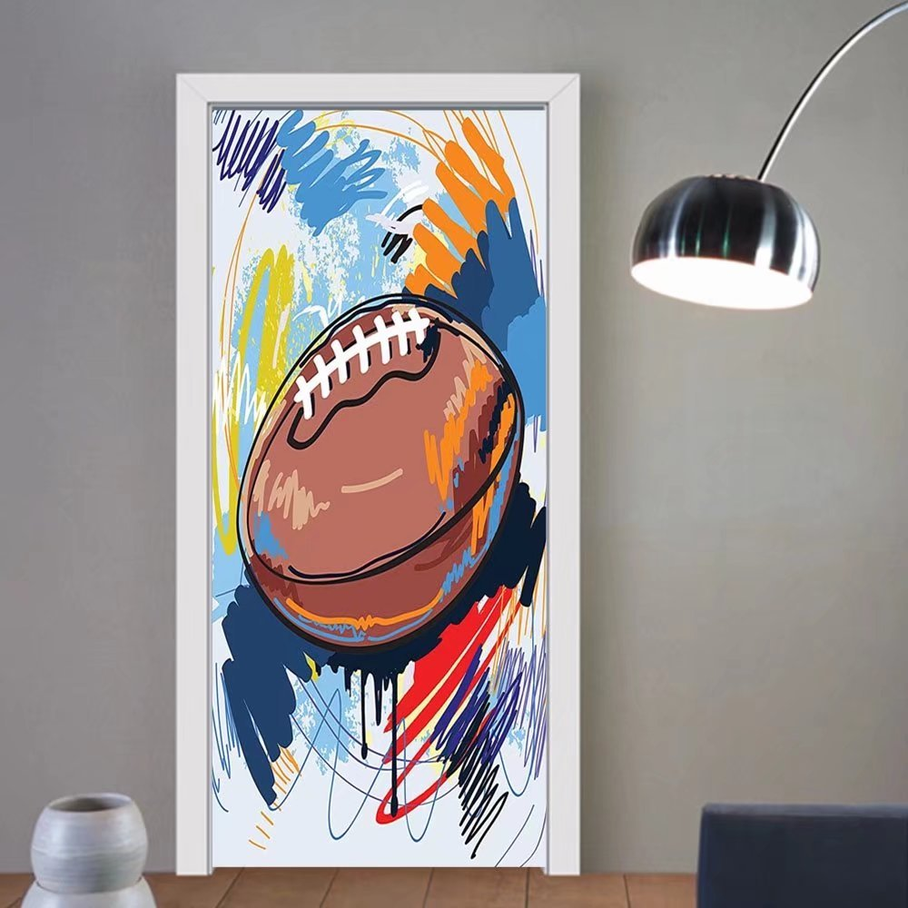 Gzhihine custom made 3d door stickers Sports Decor Diamond Shape Rugby Ball Sketch With Colorful Doodles Passing Professional Equipment League Decor Multi For Room Decor 30x79