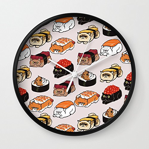 Society6 Sushi Persian Cat Wall Clock Black Frame, White Hands