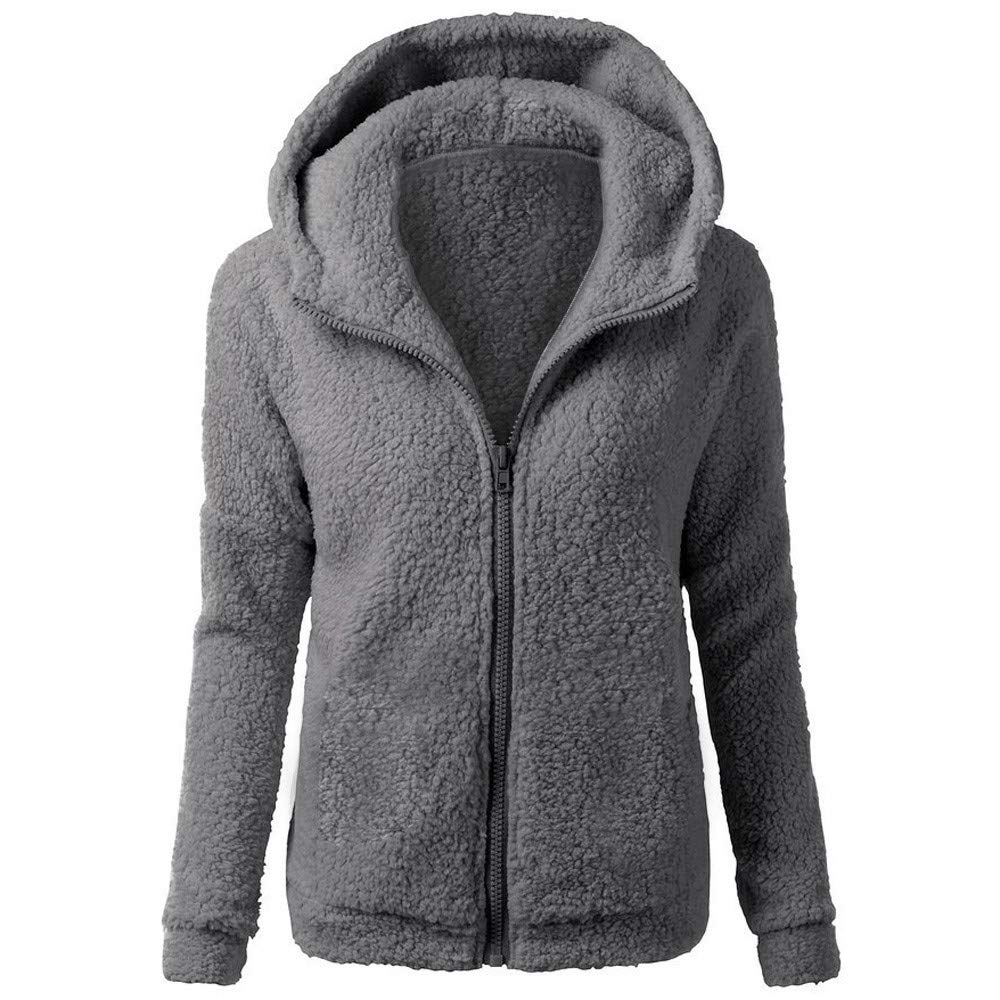 JOFOW Womens Fleece Coat,Classic Solid Fuzzy Hooded Autumn Winter Casual Loose Warm New Faux Fur Coats Zipper Padded Jacket (3XL (US:14-16),Dark Gray)