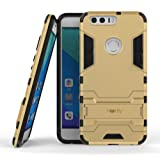 Heartly Huawei Honor 8 Back Cover Graphic Kickstand Hard Dual Rugged Armor Hybrid Bumper Case - Mobile Gold