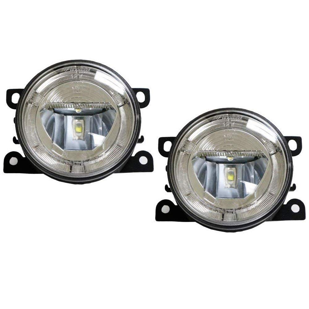 iJDMTOY Xenon White LED Fog Lamps For Acura Honda Ford Lincoln Subaru Nissan Suzuki etc. w/LED Halo Rings as Daytime Running Lights, OEM Fit 20W High Power CREE LED Fog Assy iJDMTOY Auto Accessories LH RH Driver Passenger Side Housing Assy