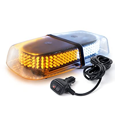 Xprite Amber White 240 LED Warning Strobe Beacon Light Mini Bar w/Magnetic Base for Emergency Construction Vehicles Trucks Van Postal Mail Cars Snowplow Safety: Automotive
