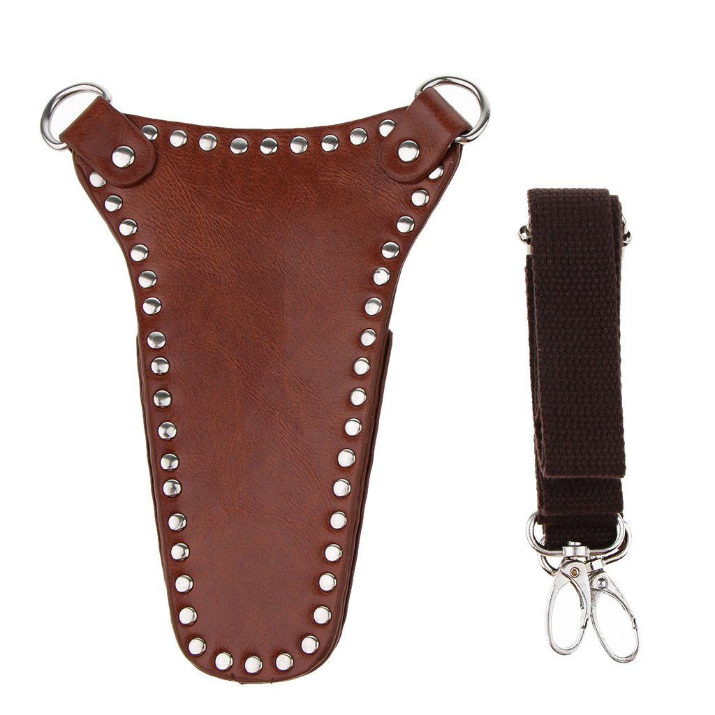Fityle Shears Tool Holsters Gardening Pouch Belt Professional Hairdressing PU Leather Scissors Case Holder Holster Bag - Black, as described