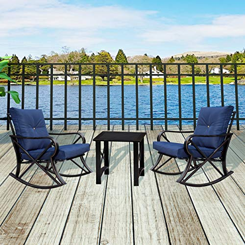 LOKATSE HOME 3 Piece Patio Outdoor Rocking Chair Bistro Sets with Coffee Table, Blue Cushions (Piece Set Height Balcony Patio 3)