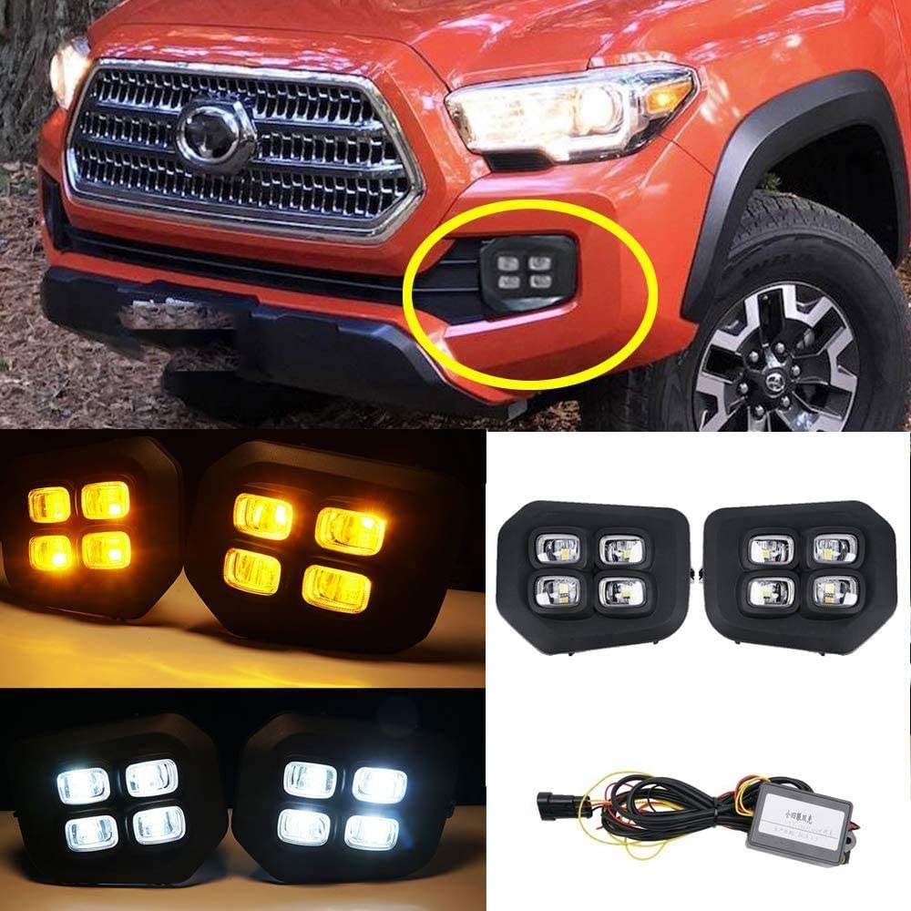 FAYUE Replacement For Toyota 2016-2019 Tacoma 4 eyes LED Clear Lens Bumper Driving Fog Lights Pair + Wiring + Switch Kit (Dual color-Amber Yellow//Clear White