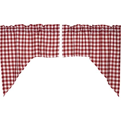 VHC Brands Buffalo Red Check Swag Lined Set of 2 36x36x16