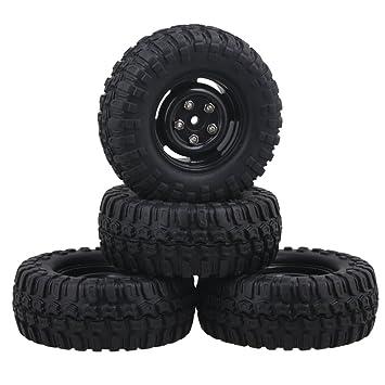 RC1:10 On-road Car Black Rubber Tyre /& Black Plastic 4 Holes Wheel Rim Pack of 4