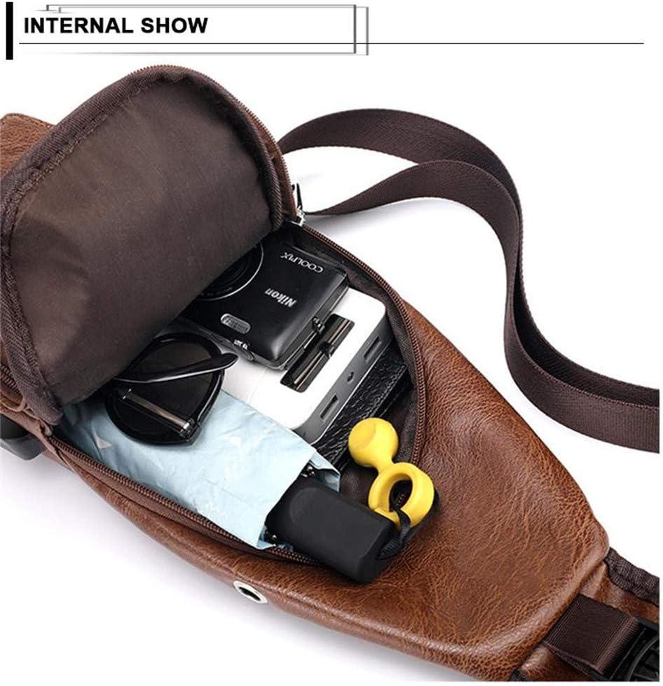 Black Leder Schultertasche Vintage PU wasserdichte Brusttasche M/änner Casual Mehrzweck-Crossbody-Pack Mit USB-Ladeanschluss F/ür Outdoor-Business Wandern Radfahren