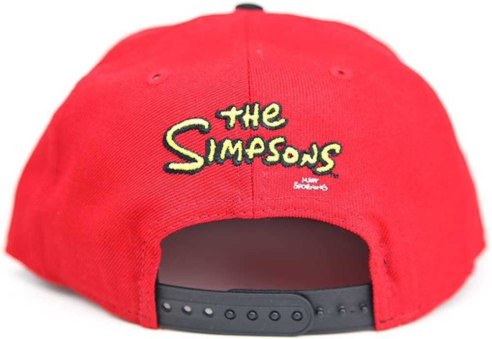 The Simpsons Radioactive Man White Yellow Red Headblock New Era 9FIFTY Snapback