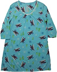 9ea6683d71 White Stag Womens Turquoise Blue Sled Dog Sleep Shirt Holiday Nightgown