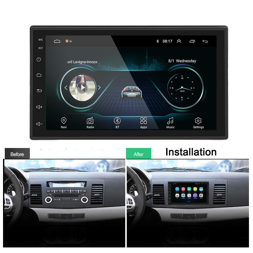 Liehuzhekeji Android 6.0 Car Stereo 2 Din FM AM Radio Universal Multimedia Player 7 HD 2.5D Screen Mirror Link Built-in Bluetooth WiFi//GPS//Navigation//Aux-in