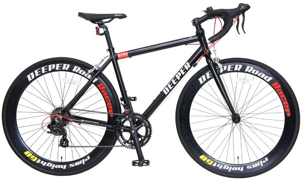 DEEPER(ディーパー) 700×26C ロードバイク DE-7048 480mm シマノ14段変速 アルミフレーム LEDライト装備 B06XXSJHMNブラック