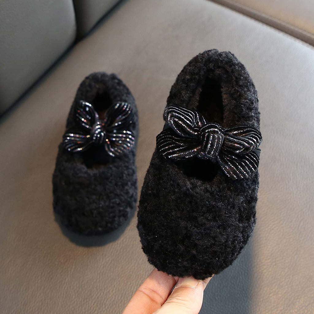 Infant Toddler Girls Winter Warm Cotton Shoes 1-11 Years Old Children Bowknot Elastic Band House Shoes 5-5.5 Years Old, Black